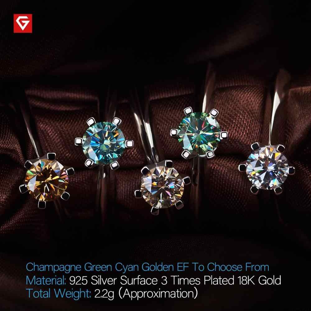 GIGAJEWE 0.5ct 5mm EF redondo 18K chapado en oro blanco 925 Plata anillo de moissanita prueba de diamante Mujer regalo de la novia