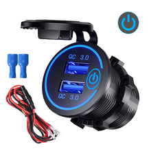 Quick Charge 3.0 Dual Usb Car Charger Socket Waterdichte 12V/24V QC3.0 Usb Fast Charger Socket Power outlet Met Touch Schakelaar D5