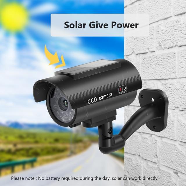Fake Camera Solar Power Outdoor Simulation Dummy Camera Waterproof Security CCTV Surveillance Bullet With Flashing LED Light 1