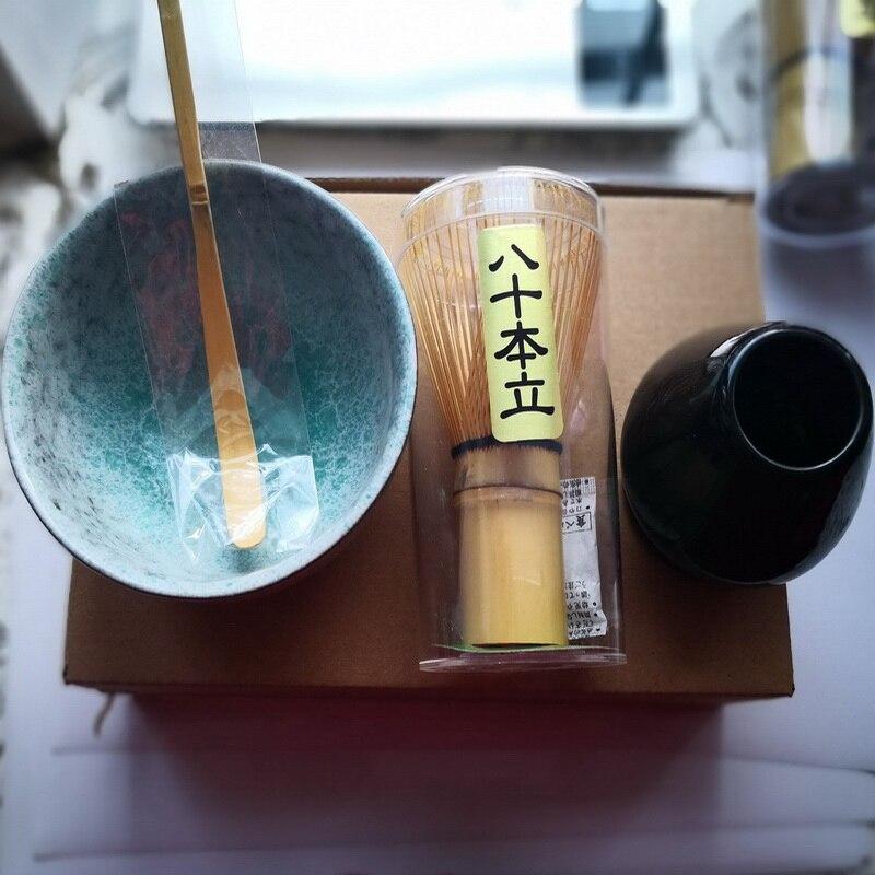 מסורתי matcha סטי טבעי במבוק matcha whisk ceremic matcha קערת להקציף בעל יפני סגנון תה סטים