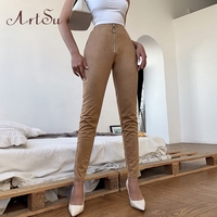Арцу замша из искусственной кожи брюки хаки черные леггинсы с высокой талией сексуальные обтягивающие Стрейчевые брюки для женщин 2020 одежд...