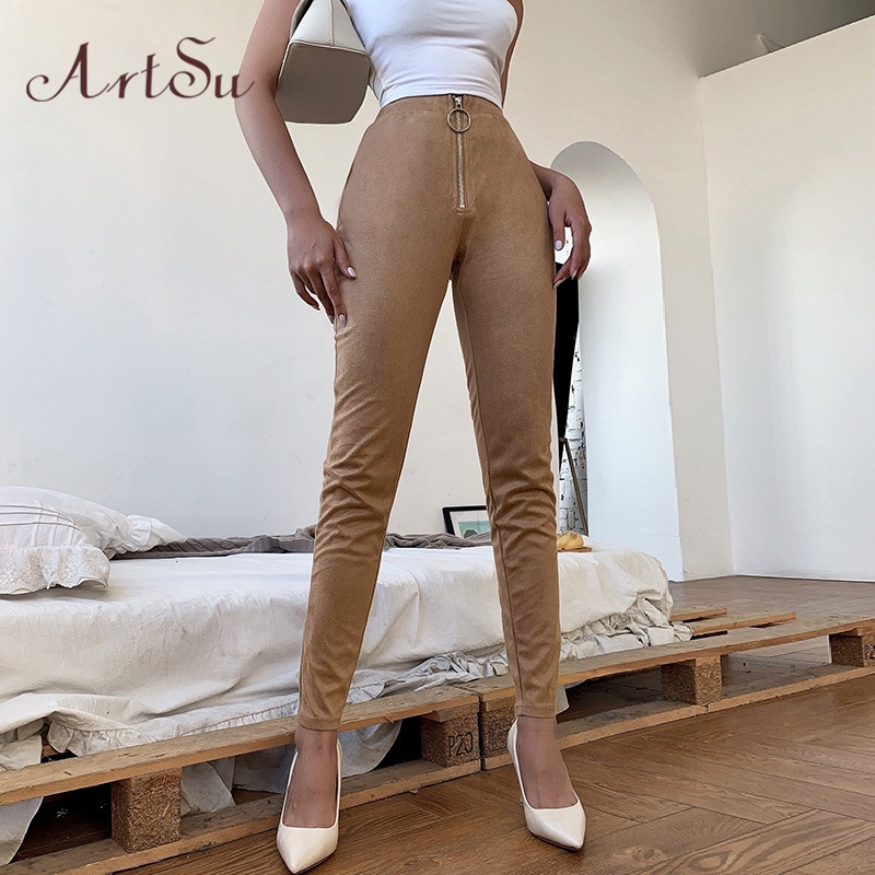 Artsu Suede PU Leather Pancil Pants Khaki Black High Waist Leggings Sexy Skinny Stretch Trousers Women 2020 Clothes ASPA70102