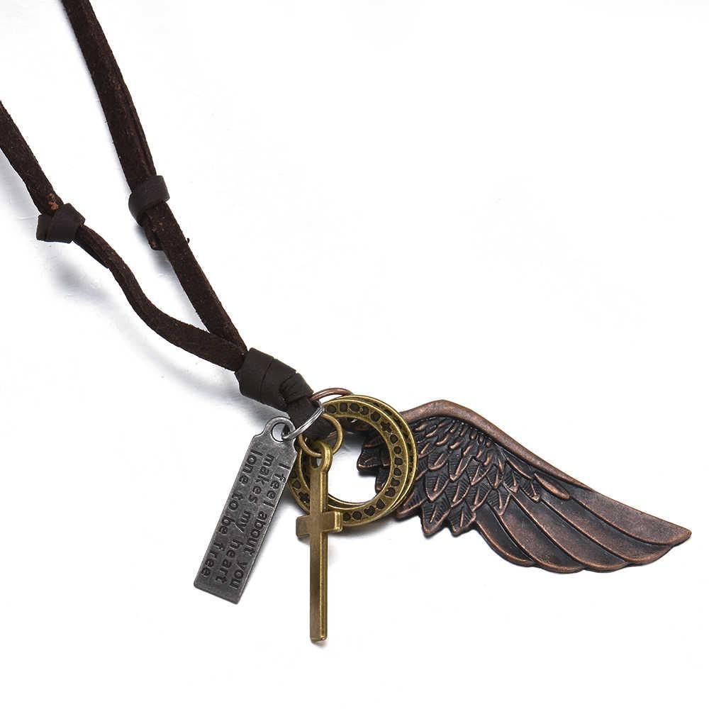 Veer Engelenvleugels Ketting & Hangers Vintage Bruin Lederen Neckless Voor Vrouwen Mannen Sieraden Jongens Ketting Statement Ketting