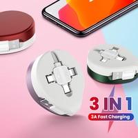 1m 3 In 1 USB Datenkabel Versenkbare 3A Schnelle Lade Kable USB A Zu Micro USB/Typ C/8 Pin Kabel Für iPhone 12 11 Redmi K40