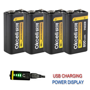 1/2/4 PCS OKcell 9V 800mAh USB Rechargeable Lipo Battery for RC Helicopter Drone Model Microphone DIY Accessories Spare Parts 1