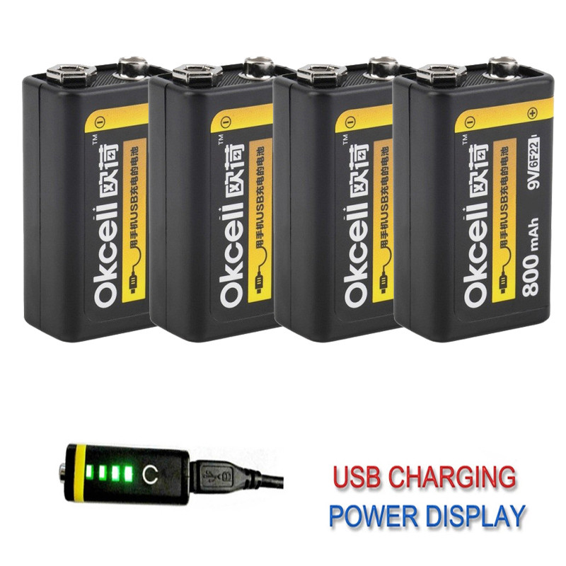 1/2/4 PCS OKcell 9V 800mAh USB Rechargeable Lipo Battery For RC Helicopter Drone Model Microphone DIY Accessories Spare Parts