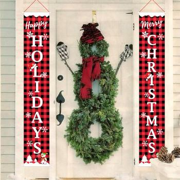 Merry Christmas Porch Sign Couplet Hanging Banners for Holiday Home Indoor Outdoor Decoration