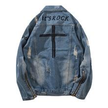 Letter Embroidery Denim Jacket Women/Man Hip Hop Streetwear Single Breasted Zipper Cuff Ripped Holes Jeans Jacket Coat 2019 цена