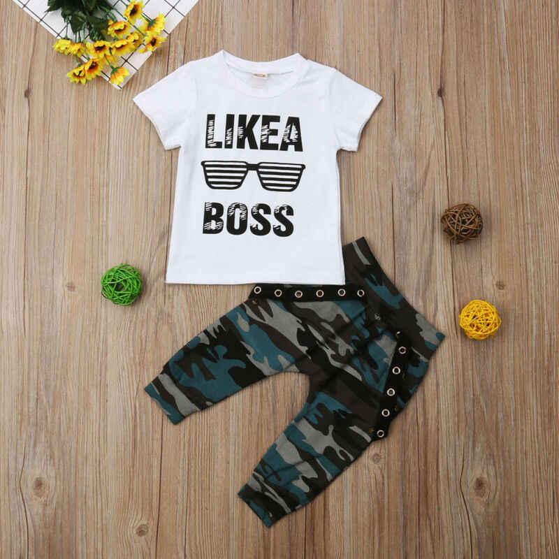Baby Jungen Kleidung 2020 Hip Hop Kurzarm Sommer Kleinkind Infant Wie EIN Chef Brief Tops T-shirt Camo Hosen Outfits 2Pcs