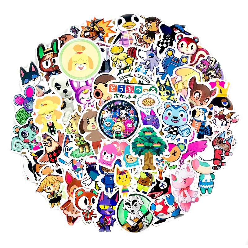 60Pcs Game Animal Crossing Cartoon Animation Sticker ForComputer Motorcycle Skateboard Guitar Toy Game Machine Children Gift