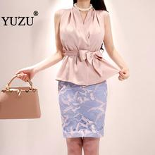 Two Piece Set Office Outfit For Woman Skirt Set Pink Shirts V Neck Sleeveless Bow Lace-up Tops And Blue Print Bodycon Skirt apricot lace up design bodycon skirt