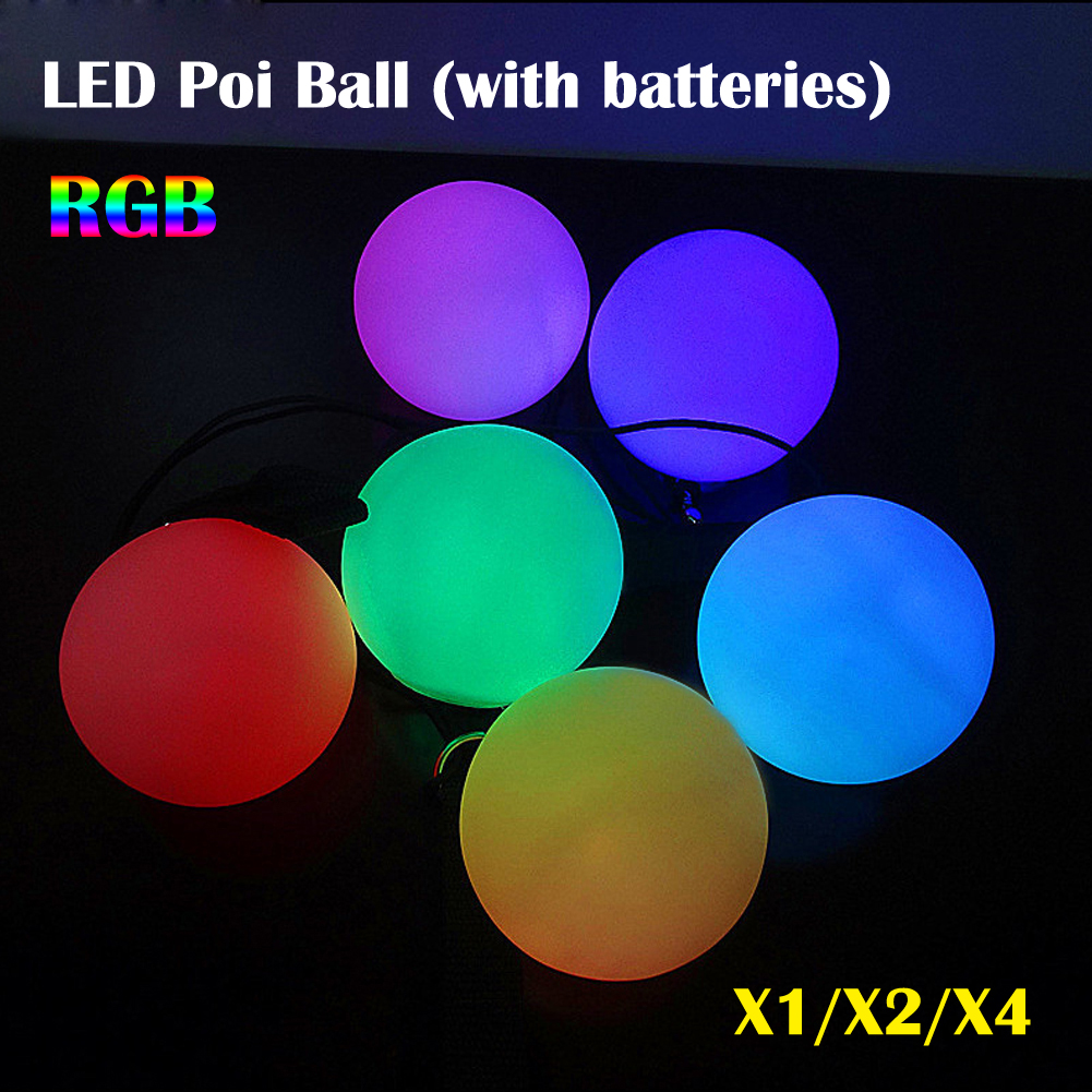 Glow LED POI Thrown Balls For Professional Belly Dancing Level Hand Props 1//2//4X