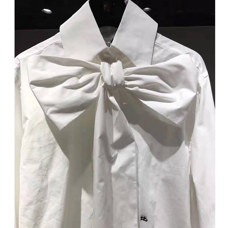 Cosmicchic 2019 femmes nœud Blouse à manches longues or boutons de manchette blanc coton chemise piste Designer bureau Blouse Slim décontracté hauts - 5