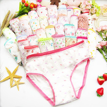 12pcs/Lot Cotton Girls Briefs Children's Underwear Panties Kids' Panties 2-12Years