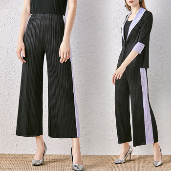 High Waist Trousers Female Elastic Miyake Pleated Side Contrast Color Striped Patchwork Casual Wide Leg Pants Women Full Length цена 2017