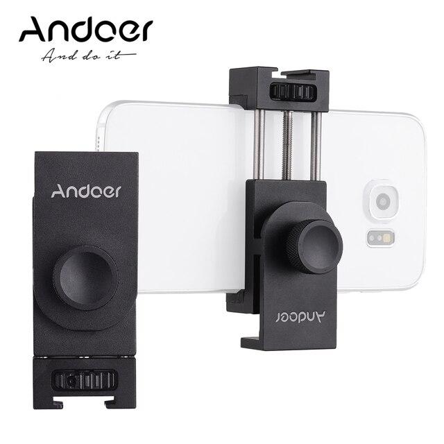 Andoer Metal telefon tutucu tripod mesnet adaptörü soğuk ayakkabı montaj mikrofon LED Video ışığı aksesuarları Smartphone için