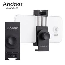 Andoer Metall Telefon Halter Stativ Mount Adapter mit Kalten Schuh Montage Mikrofon LED Video Licht Zubehör für Smartphone