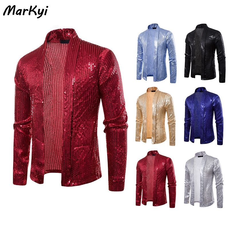 MarKyi 2020 New Fashion Sequined Buttonless Cardigan Long Sleeve Shirts Men Good Quality Party Dress Shirt