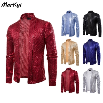 MarKyi 2020 new fashion sequined buttonless cardigan long sleeve shirts men good quality party dress shirt markyi 2019 brand new floral print casual shirts for men good quality 3d compression long sleeve shirt men