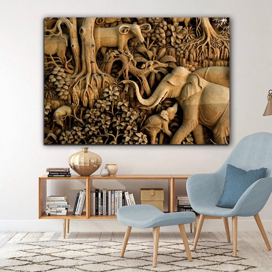 Obraz slona na plátně Obrazy na zeď pro obývací pokoj Vintage Zlaté zvířecí plakáty a tisky Cuadros Home Decor