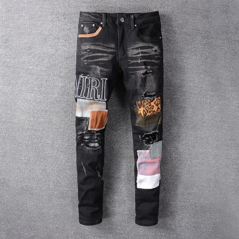 Джинсы мужские в стиле хип-хоп, уличная мода, брендовые облегающие черные эластичные джинсы с нашивкой и вышивкой, мужские летние джинсы