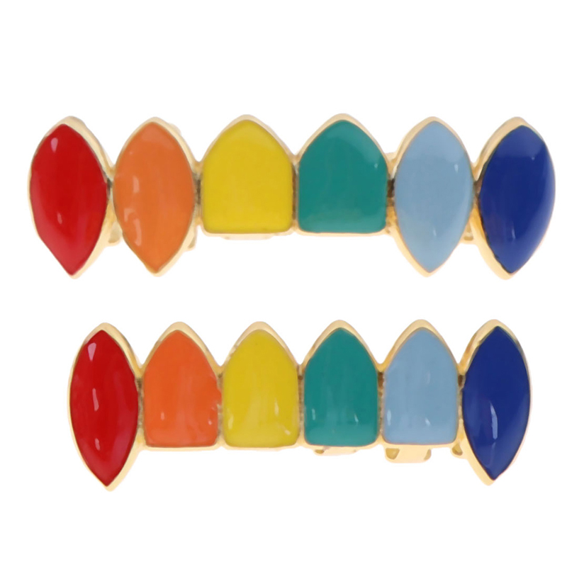 Hip Hop Gold Rainbow Teeth Grillz Top&Bottom Colorful Grills Dental Halloween Vampire Teeth
