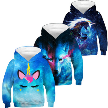 2020 Trendy Fashion Starry Boy Unicorn Girl Sweatshirt Hoodie Spring Cartoon Snowman Starry Hooded Jacket Children Pullover Top 1