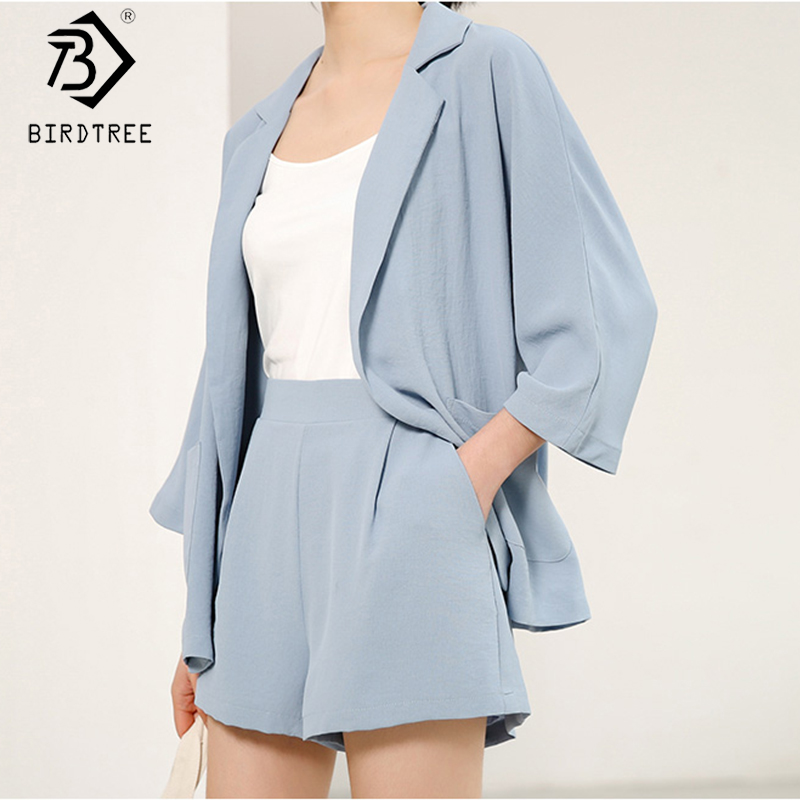 2020 Spring New Women's Chiffon Suits Two Pieces Set Fashion Notched Full Sleeve Blazer Tops And Short Pant S9D407K