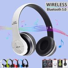 Fones de ouvido sem fio bluetooth 5.0 dobrável fone de ouvido música estéreo suporte tf cartão rádio fm para o telefone pc tablet presente
