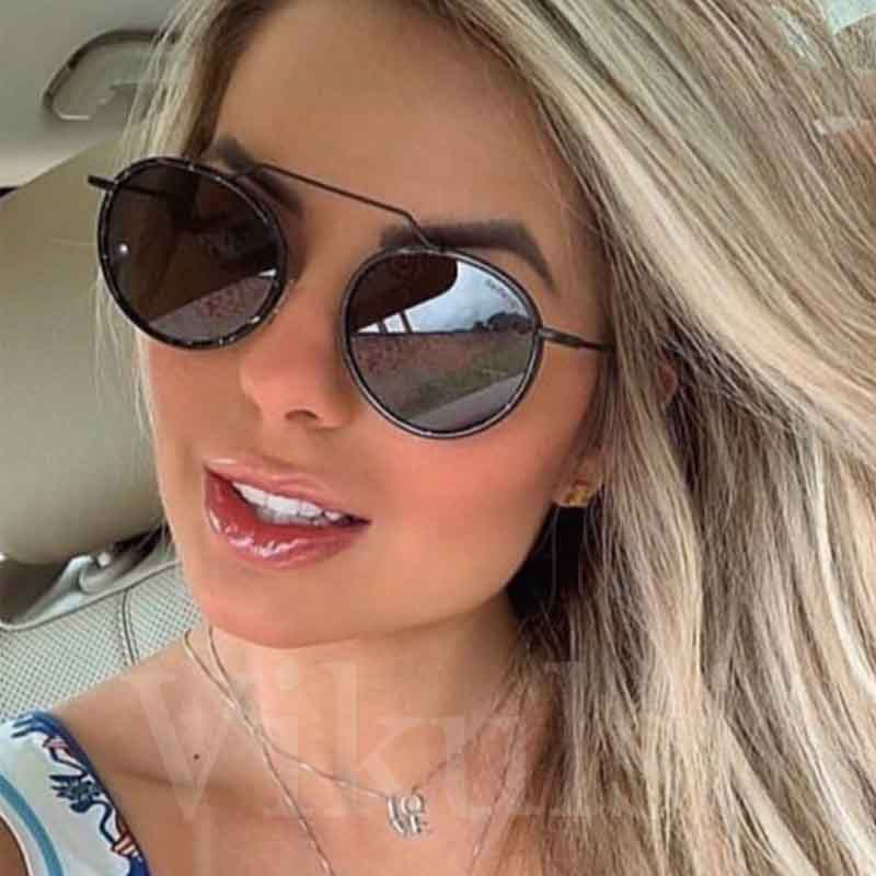 Round Brand Sunglasses Women <font><b>2020</b></font> New Fashion Black Oversize Shades Men Retro Luxury Sun Glasses Female Gradient UV400 Oculos image