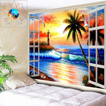Oil Painting Print Beach Wall Tapestry Mandala Wall Hanging Boho Decoration Psychedelic Hippie Tapestry Dorm Wall Cloth Rug Mat