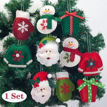 1 Set Christmas Decoration Pendant 2020 Happy New Year Christmas Ornaments Santa Snowman Dogs Doll for Xmas Tree Home Decor image