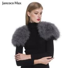 Jancoco Max 2019 Real Fur Cape Shrug Women Genuine Ostrich F