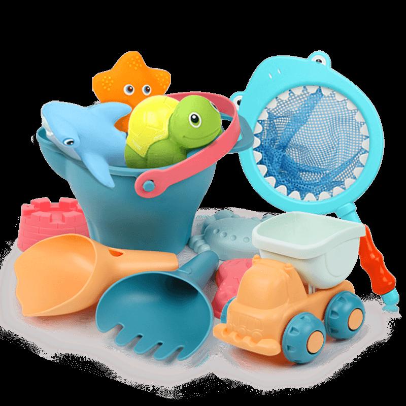 Baby Kids Beach Toys Set Bath Ball Kinetic Sand Castle Molds Bucket Sandpit Toys Carretilla Juguete Kids Beach Toys CC50BT