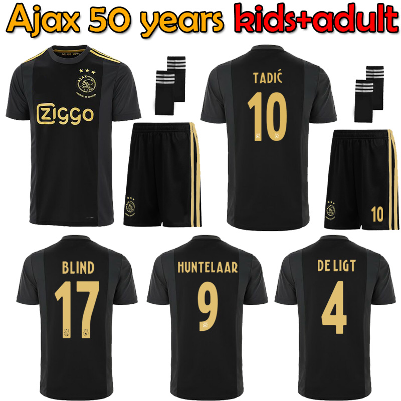 20 21 ajaxes 축구 유니폼 50 주년 기념 2020 Huntelaar NERES TADIC ajaxed 유로 블랙 성인 세트 + 키즈 키트 축구 셔츠