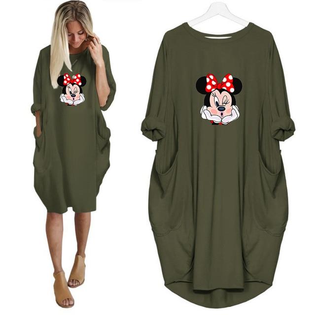 Dress Women Autumn  Cartoon Printing Pocket Loose Dresses Vintage Maxi Clothes Party Casual Dresses Woman Plus Size Dress 2