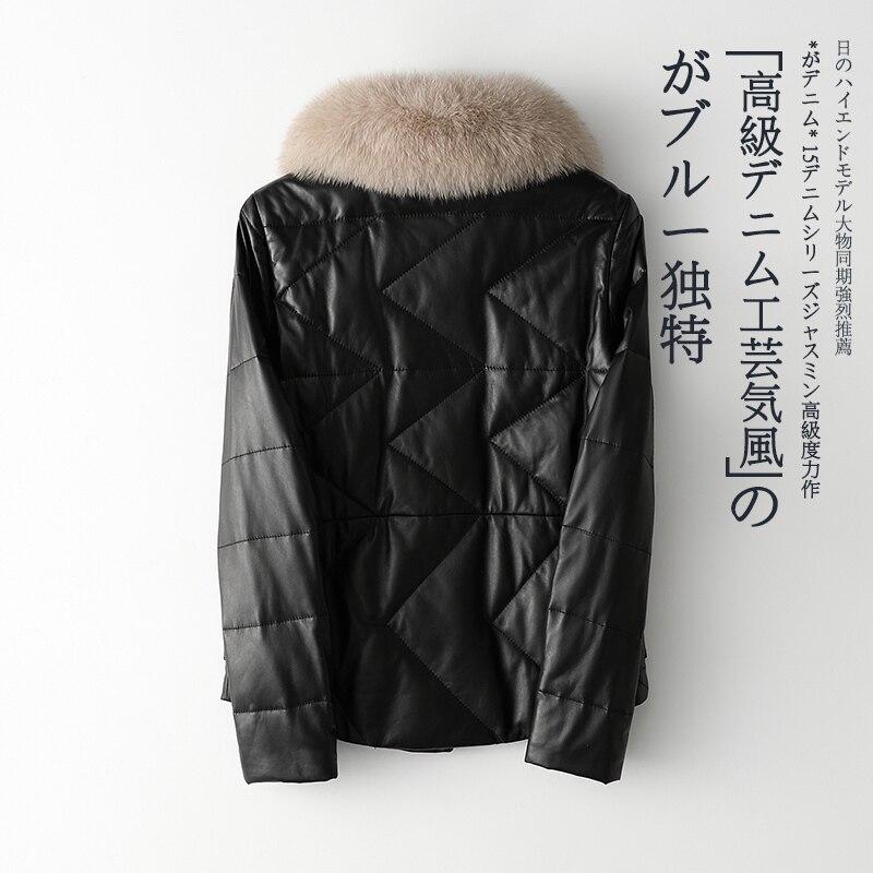 2020 Winter Genuine Leather Jacket Women Fox Fur Collar White Duck Down Jackets Sheepskin Coat Korean TLR2093 KJ3548
