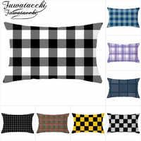 Fuwatacchi Geometrische Rechteck Kissen Abdeckung Plaid Polyester Kissenbezüge für Home Sofa Dekorative Wohnzimmer Dekoration 30*50cm