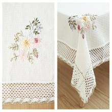 48 Europe Flowers Tablecloth White Hollow Lace Cotton Linen Dust proof Table cloth Wedding Banquet TV Cabinet Cover Cloth