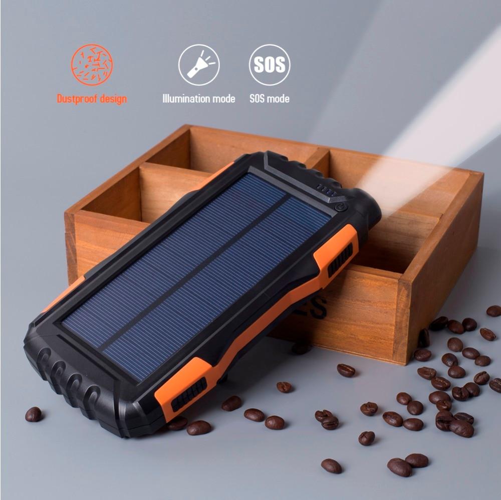 IP65 Waterproof 20000mAh High-Capacity Solar Power Bank with LED Flashlight and Dual USB Ports 1