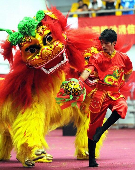 Lion danse tenue chinois danse Costume laine fait à la main scène accessoires pour deux adultes d'outre-mer chinois publicité défilé Costume