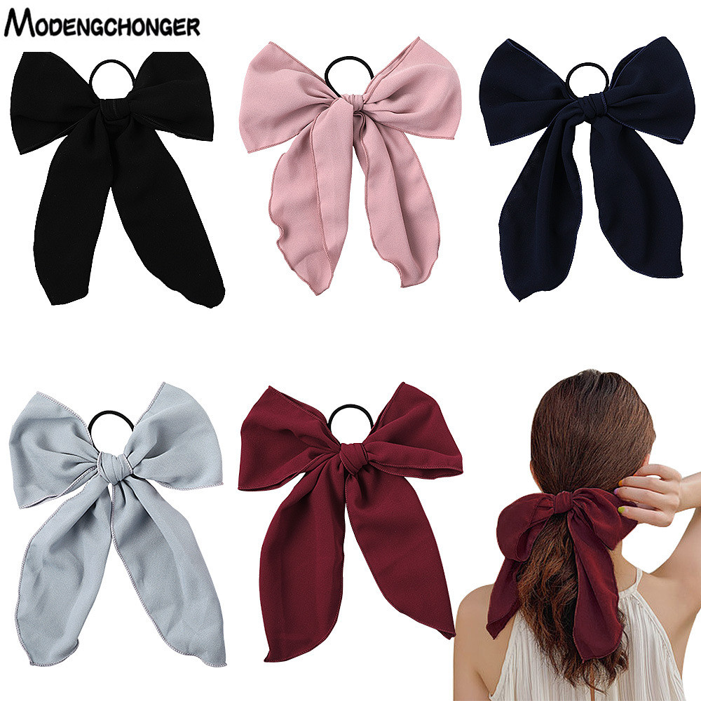 Chiffon Bow Hair Scrunchies Sweet lady Elastic Hair Bands Elegant Ribbon Hair Tie Rubber Bands Women Headband Hair Accessories