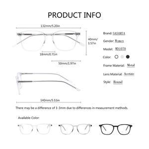 Image 4 - SASAMIA gözlük şeffaf temizle çerçeve kadın gözlük çerçevesi asetat kare gözlük beyaz gözlük kadınlar için gözlük çerçeveleri