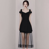 Summer A Line New Fashion Women's Off Shoulder V neck Waistband Slim Lace Dress Sexy Tulle Slim Black Simple Party Dress
