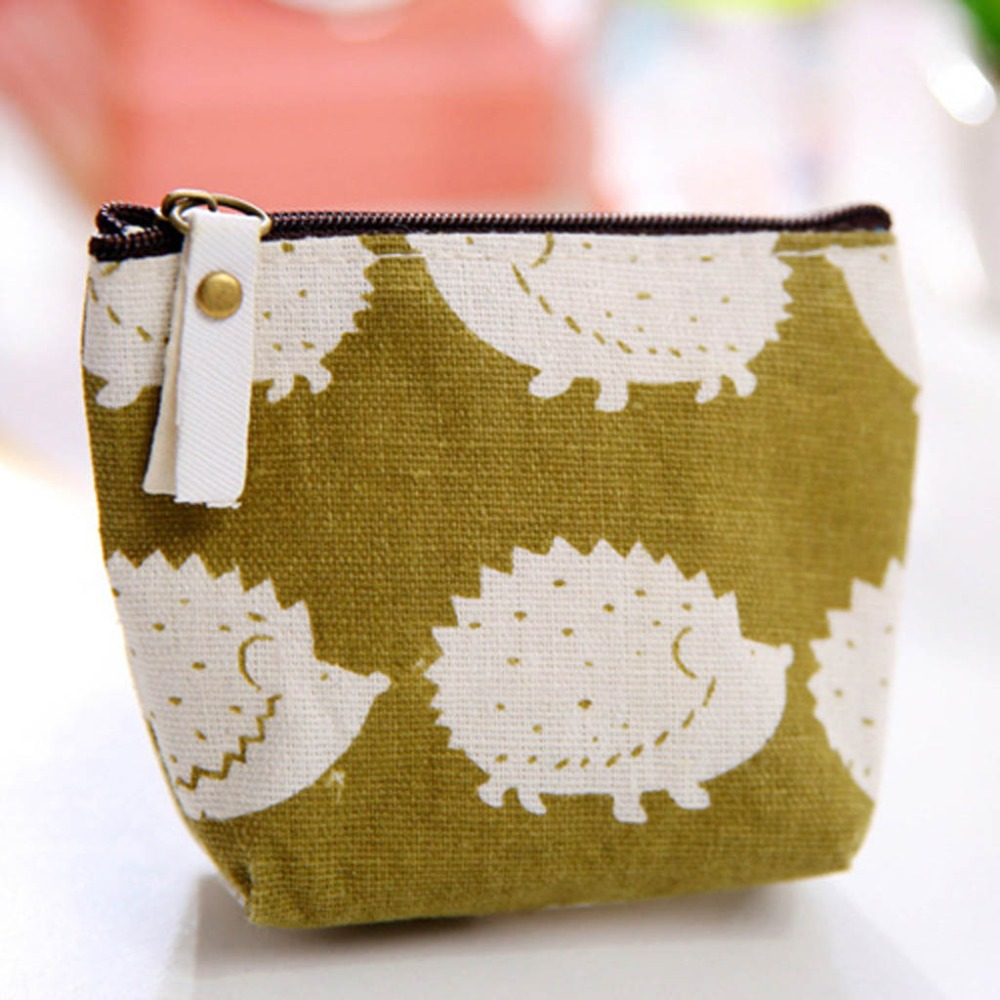 Zipper storage bag forest coin purse coin bag simple fashion cartoon key bag canvas small cosmetic bag multi-function 30N12 (5)