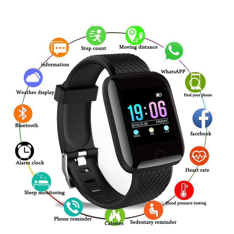 In Stock!! Smart Watches 116 Plus Heart Rate Watch Smart Bracelet Sports Watches Smart Bracelet Women Waterproof Smartwatch