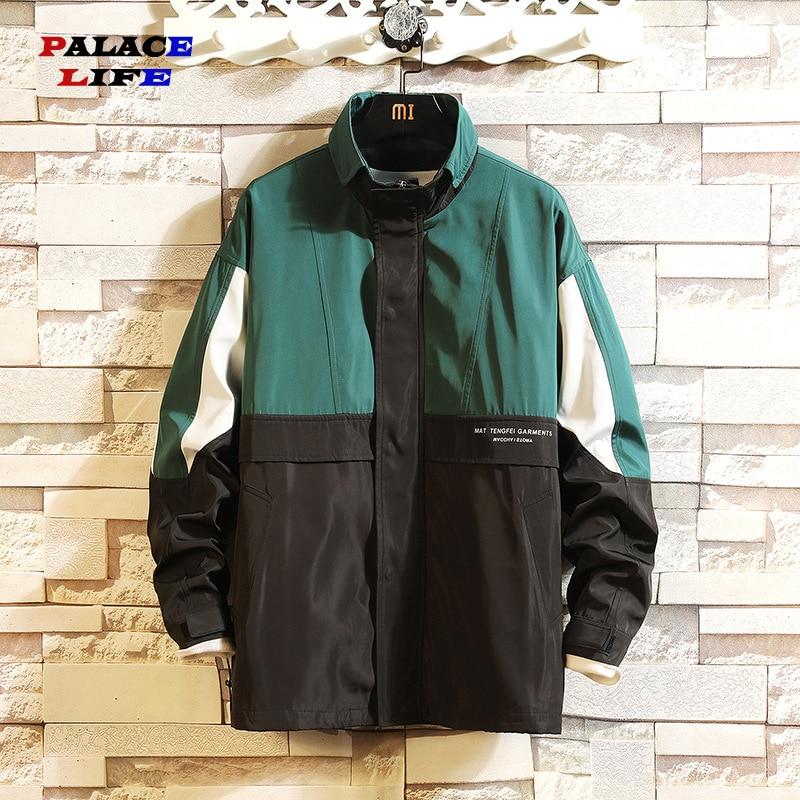 Hip Hop Mens Windbreaker Jacket Autumn 2020 Fashion Casual Patchwork Loose Mens Large Size Jacket Sportswear Bomber Jackets