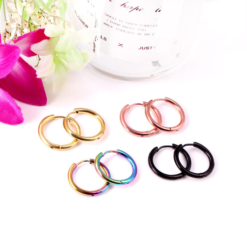LUXUKISSKIDS 1pair Gold Rainbow Hoop Septum Nose Earrings Circle 316L Stainless Steel Hoop Earing Set For Women Fashion Jewelry
