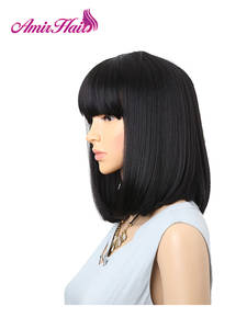 Synthetic Wigs Bangs Hairstyle Hair-Bob Heat-Resistant Black Amir Straight Bobo Medium-Length