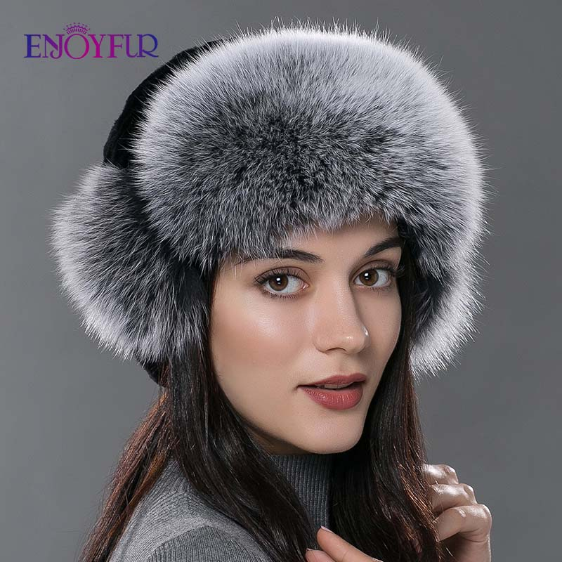 Women s fur bomer hat for winter natural rex rabbit silver fox fur caps for women